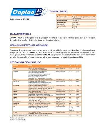 CAPTAN 50 WP es un fungicida para la ... - Phytocare Group
