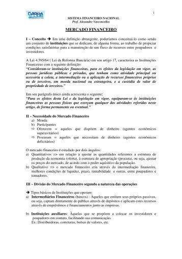 MERCADO FINANCEIRO - Cursos Preparatórios para Concursos