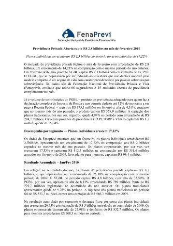 Previdência Privada Aberta capta R$ 2,8 bilhões no mês de ...