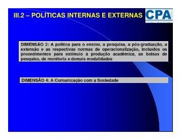 III.2 – POLÍTICAS INTERNAS E EXTERNAS - Uesc