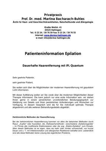 Patienteninformation Epilation - Derma-Hattingen