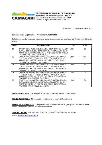 PREFEITURA MUNICIPAL DE CAMAÇARI Secretaria de ...