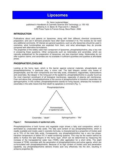 Liposomes, Handbook of Cosmetic Science and ... - Dermaviduals