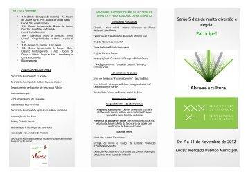 folder 2012 FEIRA DO LIVRO frente novo - Prefeitura Municipal de ...