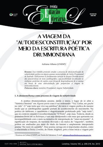 """""""auto(des)constituição"""" por meio da escritura poética drummondiana"""