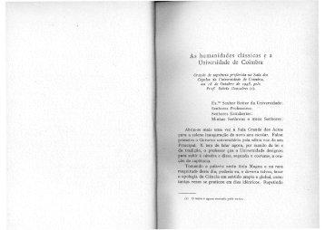 As humanidades clássicas e a Universidade de Coimbra