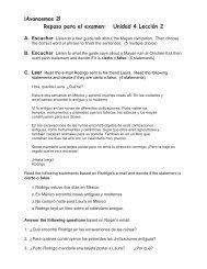 ¡Avancemos 2! Repaso para el examen: Unidad 4 Lección 2
