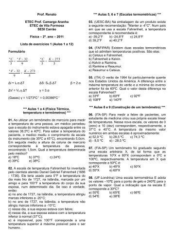 2011 – 2a. série – Lista.de.exercícios.1.aulas - Sobre Física