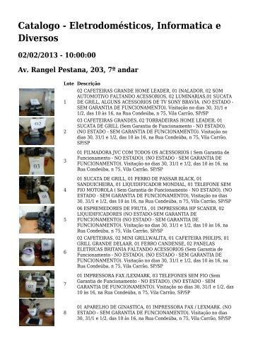 Catalogo - Eletrodomésticos, Informatica e Diversos