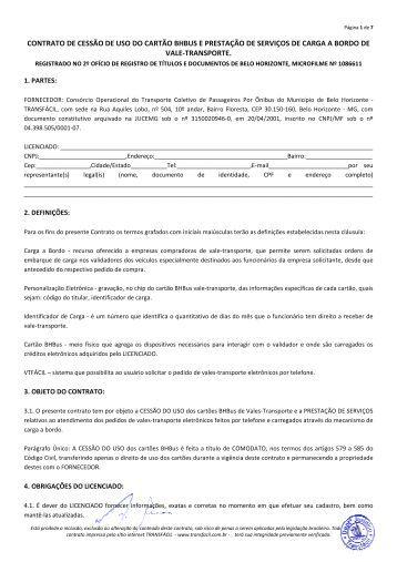 contrato de cessão de uso do cartão bhbus e prestação ... - Transfácil