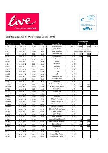 Eintrittskarten für die Paralympics London 2012 - Dertour
