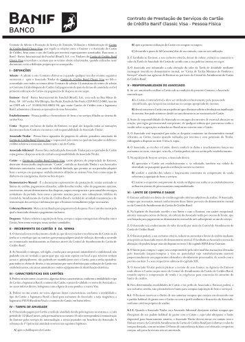 Contrato de Prestação de Serviços do Cartão de Crédito Banif ...