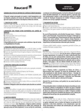 SumáRIO ExECuTIvO DO CONTRATO DE CARTãO DE ... - Banco Itaú
