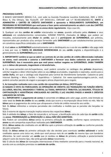 REGULAMENTO SUPERBÔNUS – CARTÃO DE ... - Santander