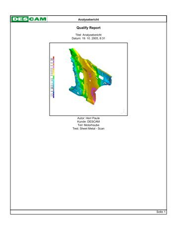 Analysereport von Qualify am Beispiel einer Motorhaube