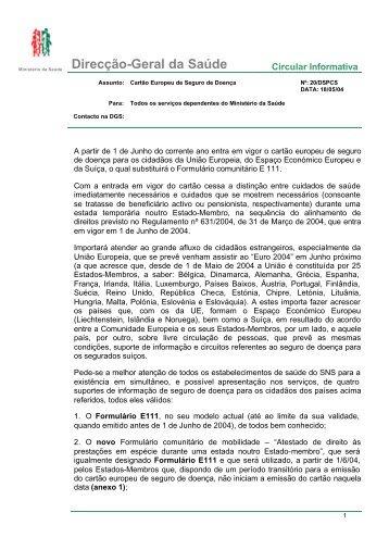 Circular Informativa n.º 20/DSPCS, de 18/05/2004 - Portal da Saúde
