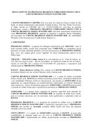 REGULAMENTO DE ACÚMULO DE MILHAS COM O CARTÃO DE ...