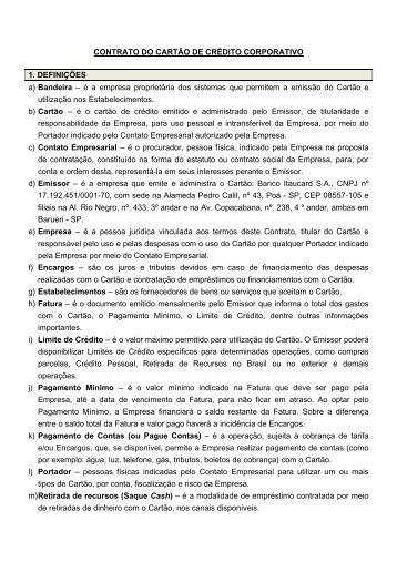 CONTRATO DO CARTÃO DE CRÉDITO ... - Banco Itaú