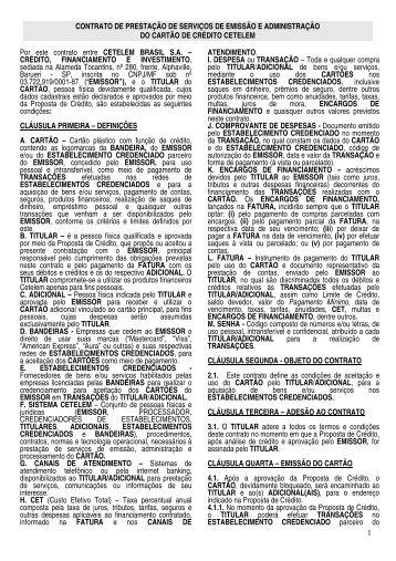 contrato de prestação de serviços de emissão - Cetelem