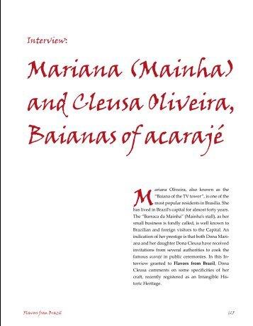 Mariana (Mainha) and Cleusa Oliveira, Baianas of acarajé