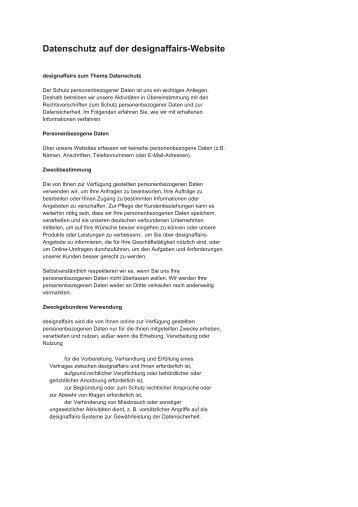 Datenschutz auf der designaffairs-Website