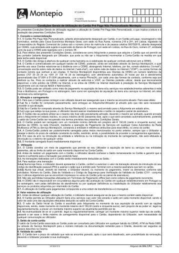Condições Gerais de Utilização do Cartão Pré Pago Não ... - Montepio