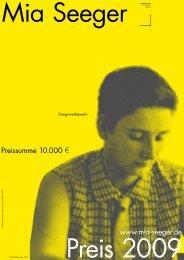 Ausschreibung Mia Seeger Preis 2009 - Design Center Stuttgart