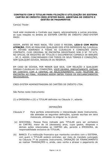 contrato com o titular para filiação e utilização - Cartão Mais!