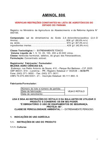 AMINOL 806 - Secretaria da Agricultura e Abastecimento - Estado ...