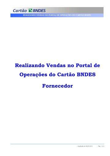 Manual do Fornecedor - Vendas Indiretas (PDF) - Cartão BNDES