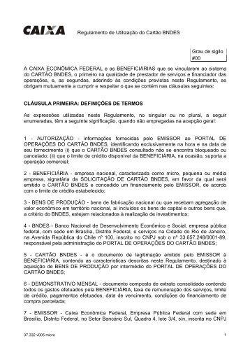 Regulamento de Utilização do Cartão BNDES Grau de sigilo #00 A ...