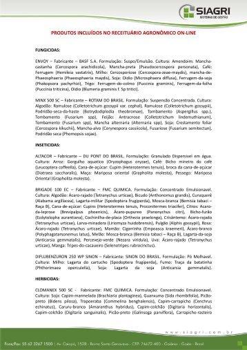 PRODUTOS INCLUÍDOS NO RECEITUÁRIO AGRONÔMICO ON-LINE