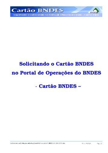 Solicitando o Cartão BNDES no Portal de Operações do ... - Mambrini
