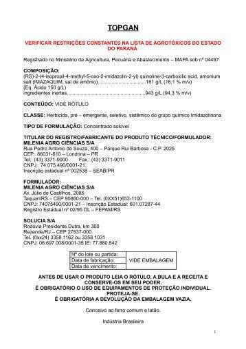 TOPGAN - Secretaria da Agricultura e Abastecimento - Estado do ...