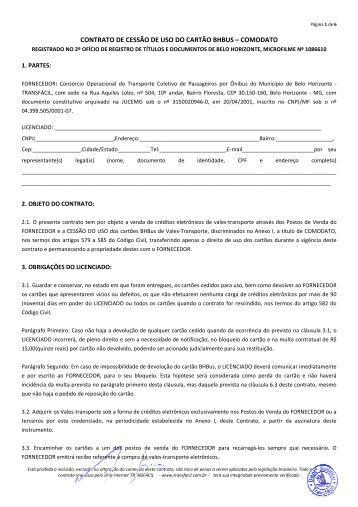 contrato de cessão de uso do cartão bhbus – comodato - Transfácil