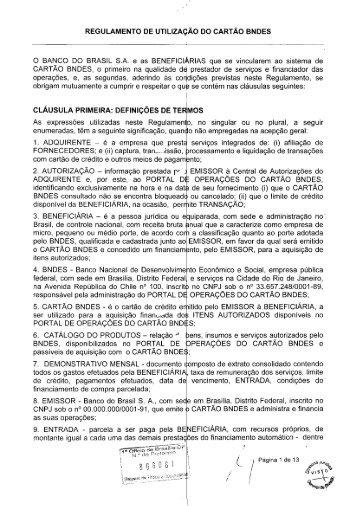 Regulamento Banco do Brasil - Cartão BNDES