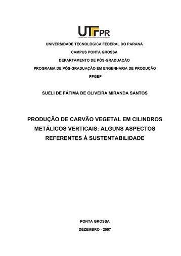 PRODUÇÃO DE CARVÃO VEGETAL EM CILINDROS ... - UTFPR