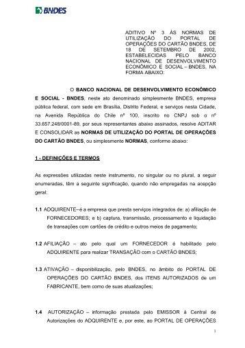 ADITIVO Nº 3 - NORMAS DO PORTAL - Cartão BNDES