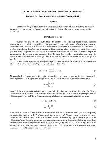 QB75B – Práticas de Físico-Química – Turma S61 – Experimento 7 ...