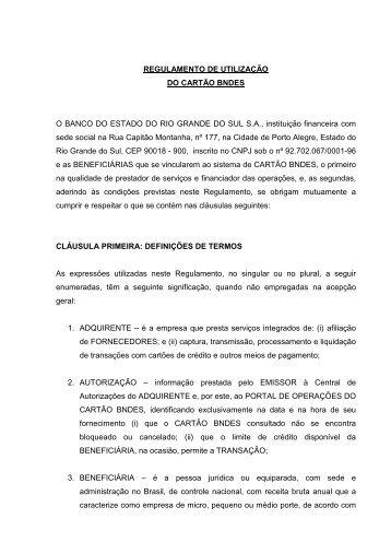 Regulamento Banrisul - Cartão BNDES