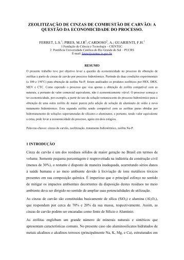 ZEOLITIZAÇÃO DE CINZAS DE COMBUSTÃO DE CARVÃO ... - Ufrgs