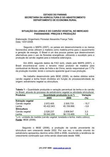 ESTADO DO PARANÁ - Secretaria da Agricultura e Abastecimento ...