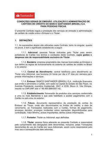 Contrato do Cartão de Crédito - válido a partir de ... - Santander