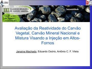 Avaliação da Reatividade do Carvão Vegetal, Carvão Mineral - ufrgs