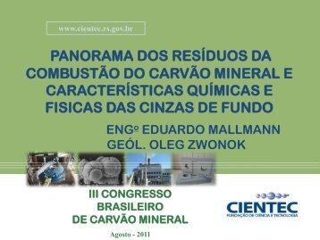 panorama dos resíduos da combustão do carvão mineral - ufrgs