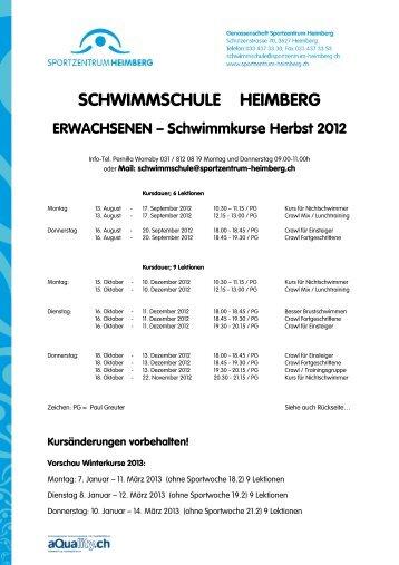 SCHWIMMSCHULE HEIMBERG - Sportzentrum Heimberg