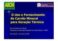 O Uso e Fornecimento de Carvão Mineral para Geração Térmica