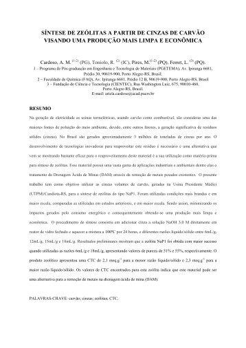 Otimização de síntese de zeolitas a partir de cinzas de carvão - ufrgs
