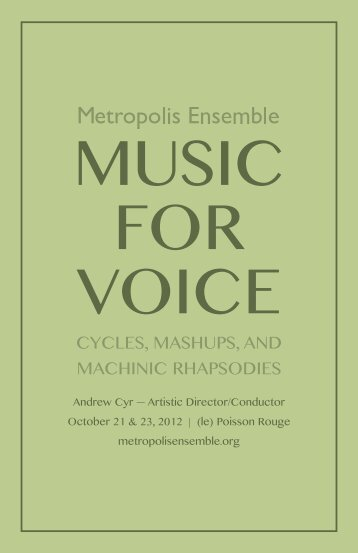 cYcLes, mAsHuPs, AND mAcHiNic rHAPsoDies - Metropolis ...