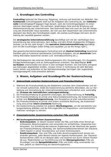 1. Grundlagen des Controlling 2. Wesen, Aufgaben und ...